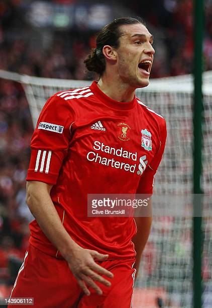 Andy Carroll of Liverpool reacts as his goal is not given during the FA Cup with Budweiser Final match between Liverpool and Chelsea at Wembley...