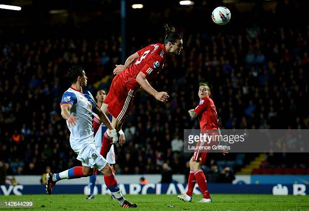 Andy Carroll of Liverpool scores the winning goal during the Barclays Premier League match between Blackburn Rovers and Liverpool at Ewood park on...