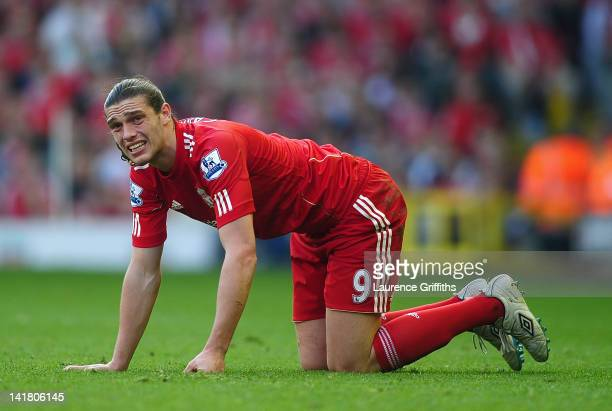 Andy Carroll of Liverpool shows his dispair during the Barclays Premier League match between Liverpool and Wigan Athletic at Anfield on March 24 2012...