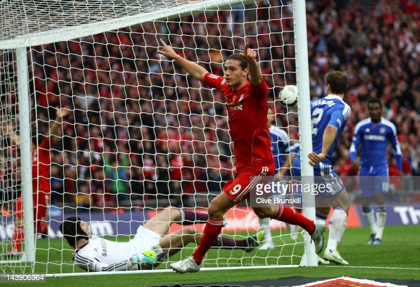 Andy Carroll of Liverpool turns to celebrate a goal that was not given during the FA Cup with Budweiser Final match between Liverpool and Chelsea at...