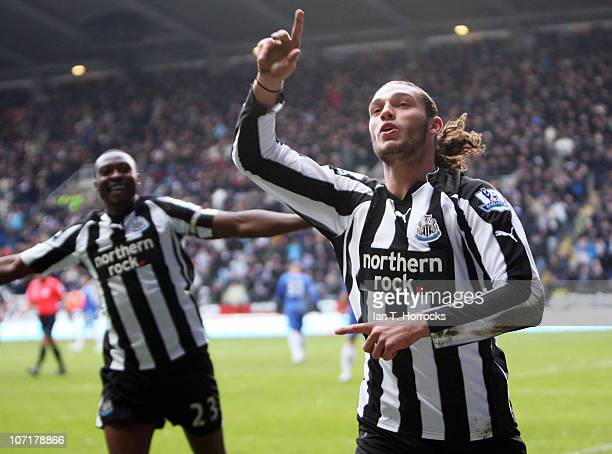 Andy Carroll of Newcastle United celebrates after he scored the opening goal during the Barclays Premier League game between Newcastle United and...