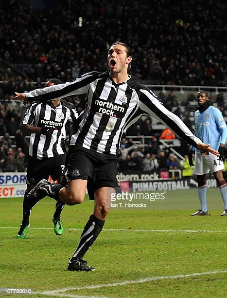 Andy Carroll of Newcastle United celebrates after scoring the 1-2 goal during the Barclays Premier League match between Newcastle United and...