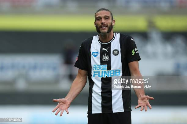 Andy Carroll of Newcastle United during the FA Cup Quarter Final match between Newcastle United and Manchester City at St James Park on June 28 2020...