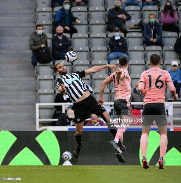 Andy Carroll of Newcastle United FC controls the ball mid air during the Premier League match between Newcastle United and Sheffield United at St....