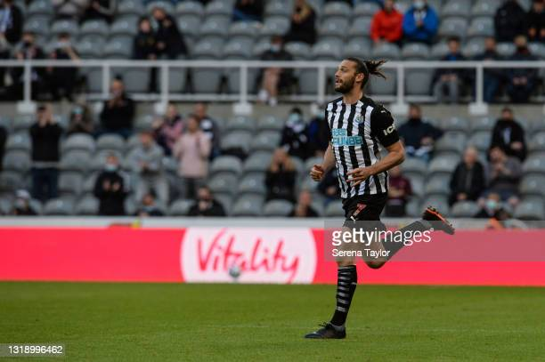 Andy Carroll of Newcastle United FC runs on to the pitch during the Premier League match between Newcastle United and Sheffield United at St. James...