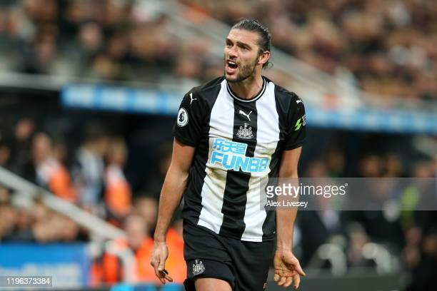 Andy Carroll of Newcastle United reacts during the Premier League match between Newcastle United and Everton FC at St. James Park on December 28,...