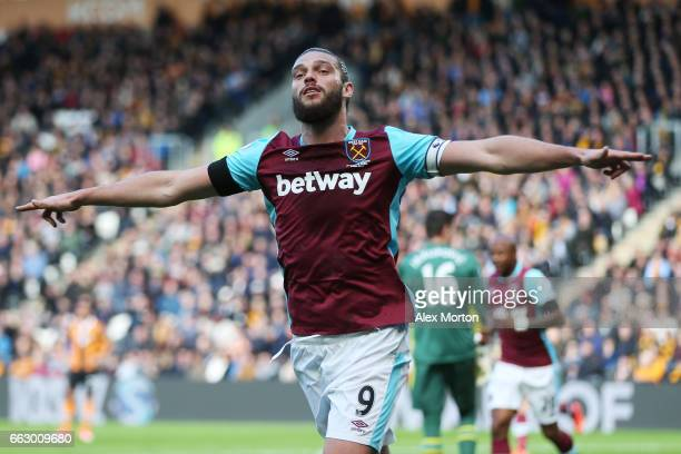 Andy Carroll of West am United celebrates scoring his sides first goal during the Premier League match between Hull City and West Ham United at KCOM...