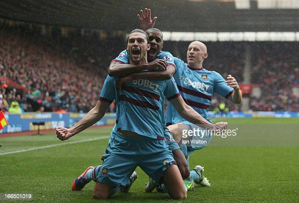 Andy Carroll of West Ham celebrates scoring a goal during the Barclays Premier League match between Southampton and West Ham United at St Mary's...