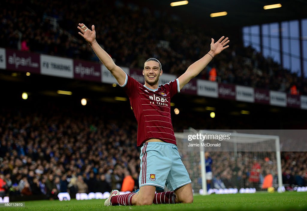 Andy Carroll of West Ham celebrates scoring the first goal during the Barclays Premier League match between West Ham United and Leicester City at Boleyn Ground on December 20, 2014 in London, England.