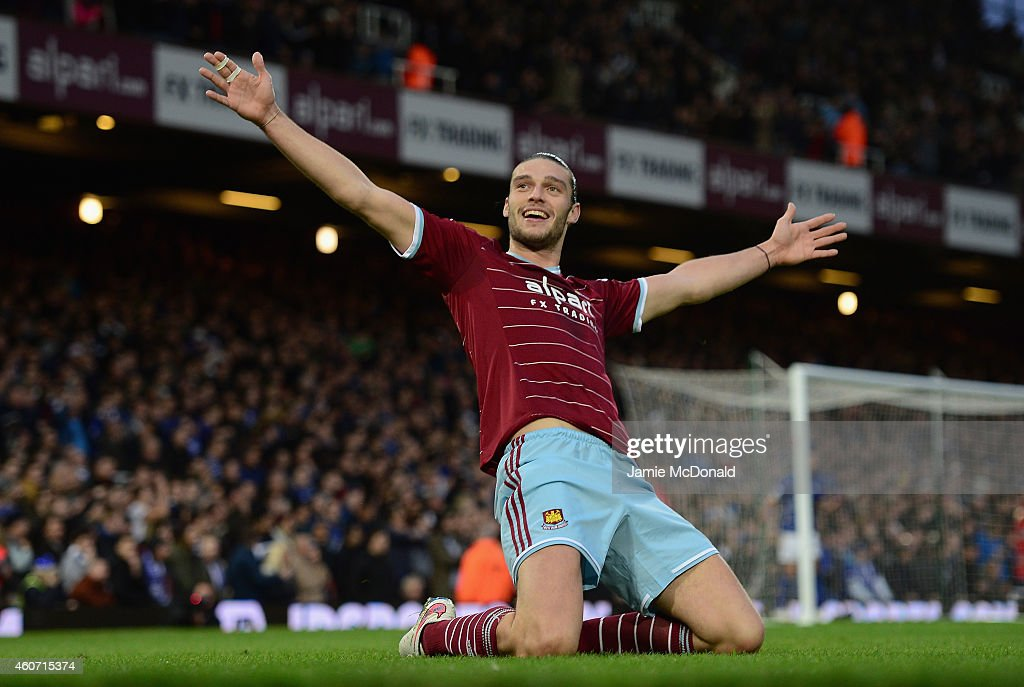 Andy Carroll of West Ham celebrates scoring the first goal during the Barclays Premier League match between West Han United and Leicester City at Boleyn Ground on December 20, 2014 in London, England.