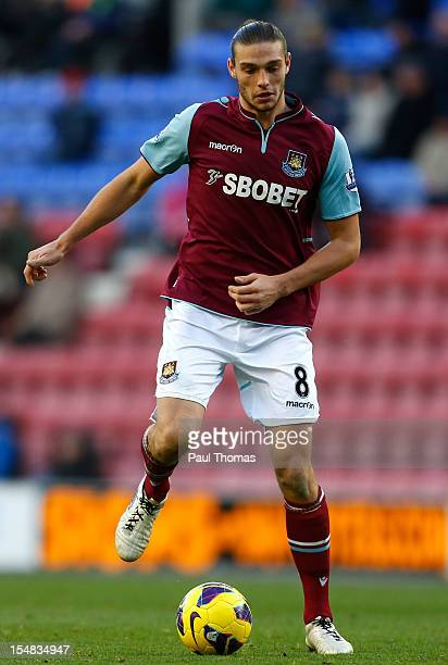 Andy Carroll of West Ham during the Barclays Premier League match between Wigan Athletic and West Ham United at the DW Stadium on October 27 2012 in...