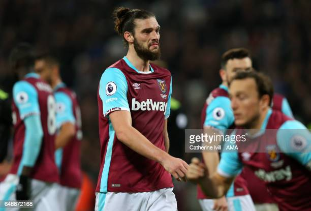 Andy Carroll of West Ham during the Premier League match between West Ham United and Chelsea at London Stadium on March 6 2017 in Stratford England