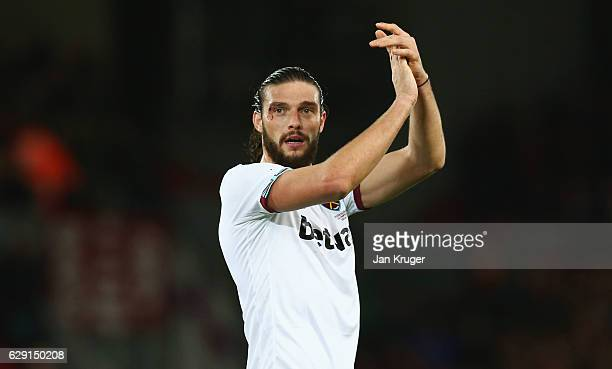 Andy Carroll of West Ham United applauds the supporters after the 22 draw in the Premier League match between Liverpool and West Ham United at...