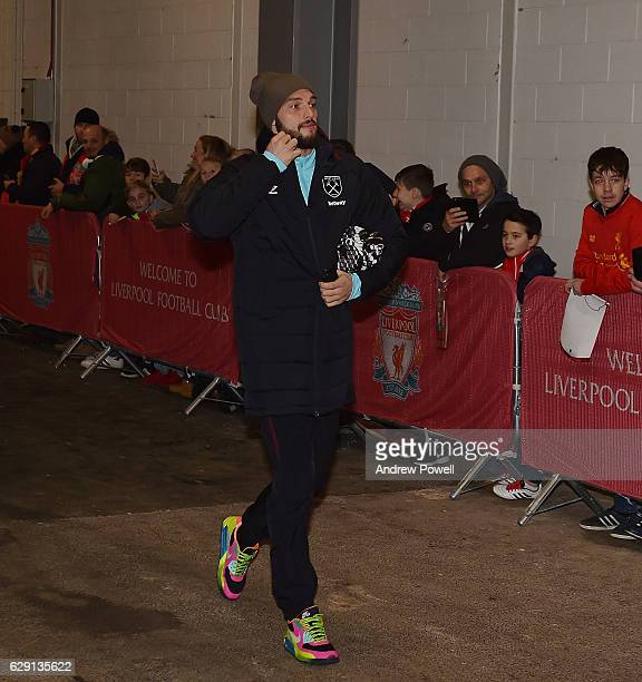 Andy Carroll of West Ham United arrives befofre the Premier League match between Liverpool and West Ham United at Anfield on December 11 2016 in...