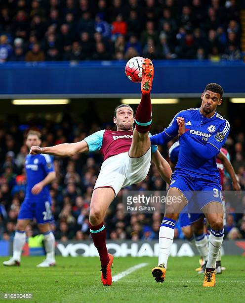 Andy Carroll of West Ham United attempts an overhead kick during the Barclays Premier League match between Chelsea and West Ham United at Stamford...