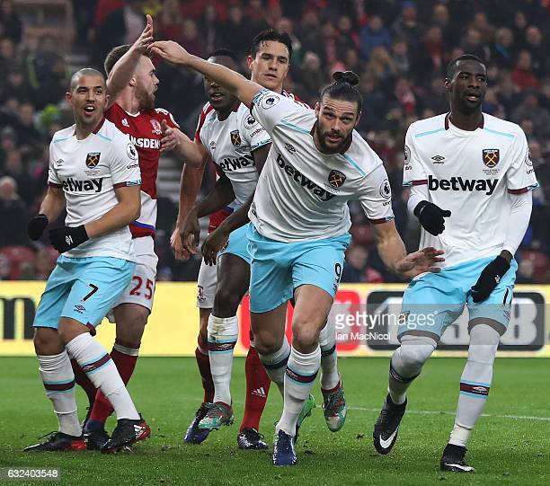 Andy Carroll of West Ham United celebrates after scoring his first goal during the Premier League match between Middlesbrough and West Ham United at...