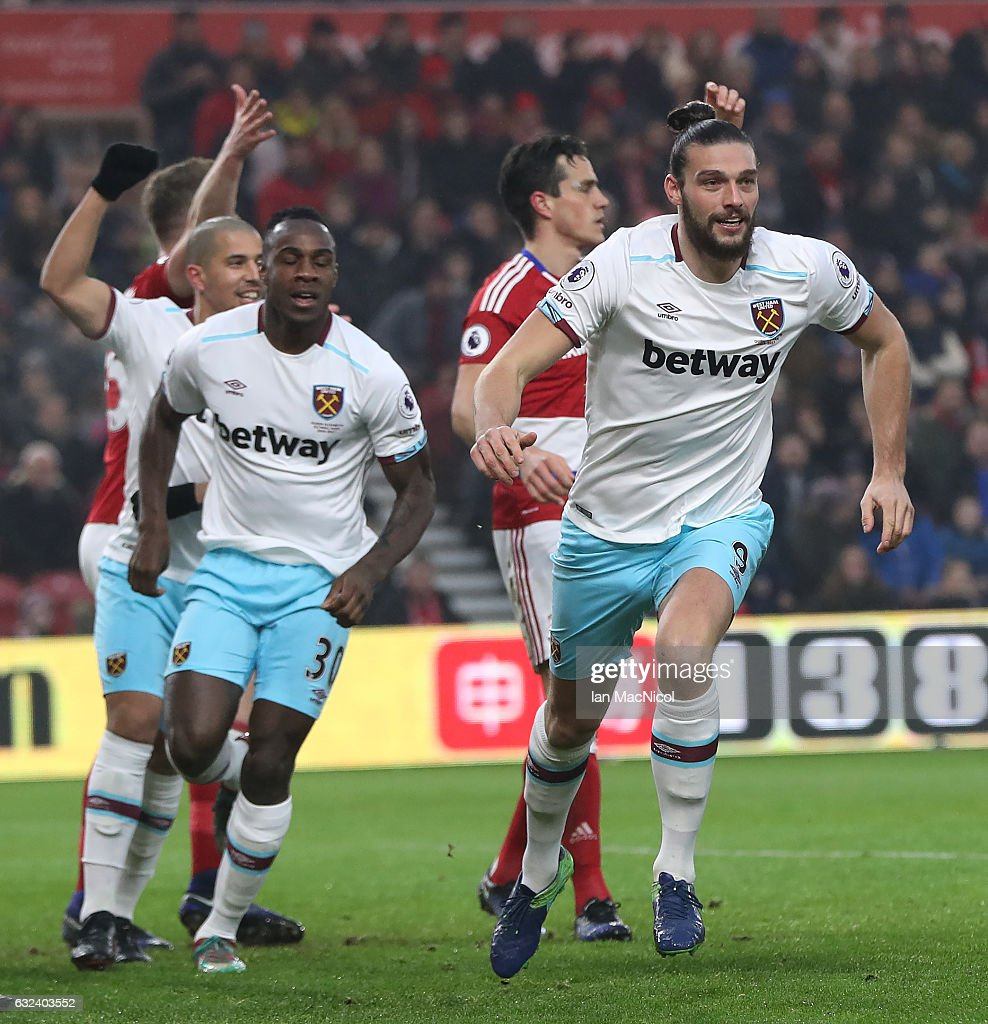 Andy Carroll of West Ham United celebrates after scoring his first goal during the Premier League match between Middlesbrough and West Ham United at Riverside Stadium on January 21, 2017 in Middlesbrough, England.