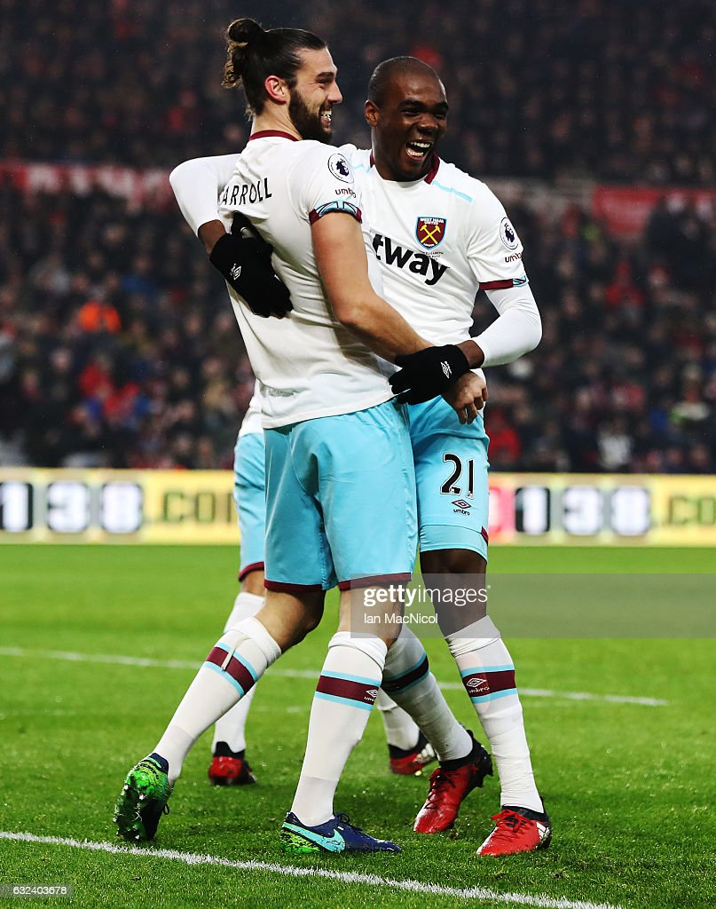 Andy Carroll of West Ham United celebrates after scoring his first goal with Angelo Ogbonna Obinze during the Premier League match between Middlesbrough and West Ham United at Riverside Stadium on January 21, 2017 in Middlesbrough, England.
