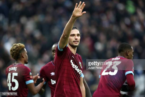 Andy Carroll of West Ham United celebrates after scoring his team's second goal during the FA Cup Third Round match between West Ham United and...