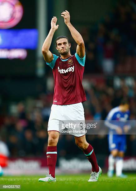 Andy Carroll of West Ham United celebrates his team's 21 win after the Barclays Premier League match between West Ham United and Chelsea at Boleyn...