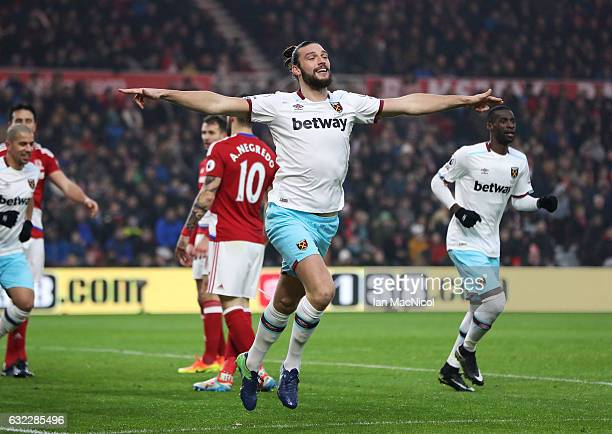 Andy Carroll of West Ham United celebrates scoring his sides first goal during the Premier League match between Middlesbrough and West Ham United at...