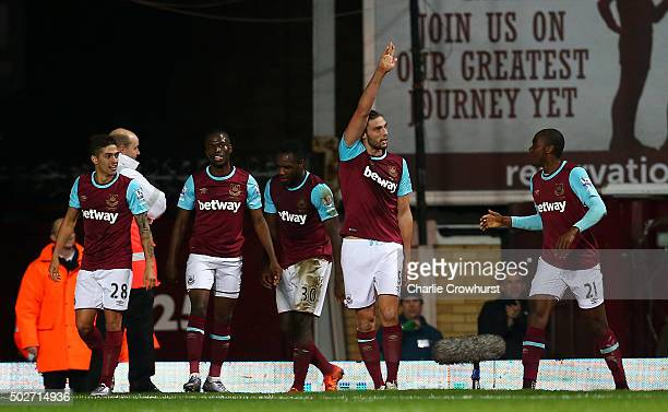 Andy Carroll of West Ham United celebrates scoring his side's second goal during the Barclays Premier League match between West Ham United and...