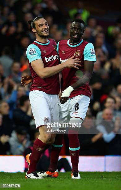 Andy Carroll of West Ham United celebrates with Cheikhou Kouyate of West Ham United after scoring the opening goal during the Barclays Premier League...
