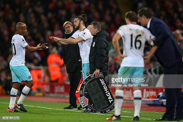 Andy Carroll of West Ham United comes on as a substitute during the Premier League match between Liverpool and West Ham United at Anfield on December...