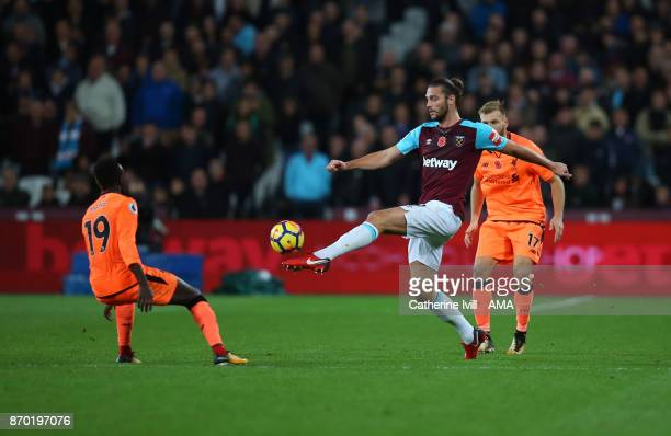Andy Carroll of West Ham United controls the ball during the Premier League match between West Ham United and Liverpool at London Stadium on November...