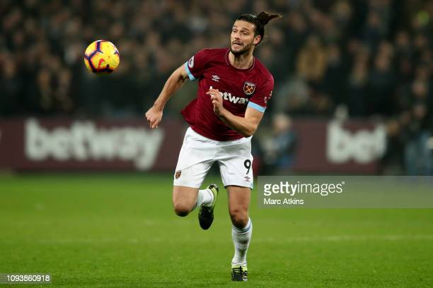 Andy Carroll of West Ham United during the Premier League match between West Ham United and Liverpool FC at London Stadium on February 4 2019 in...