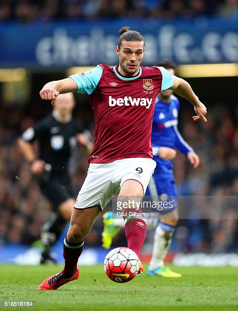 Andy Carroll of West Ham United in action during the Barclays Premier League match between Chelsea and West Ham United at Stamford Bridge on March 19...