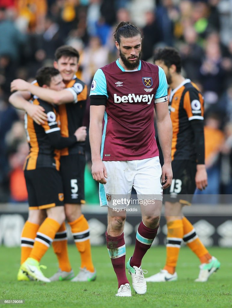 Andy Carroll of West Ham United is dejected during the Premier League match between Hull City and West Ham United at KCOM Stadium on April 1, 2017 in Hull, England.