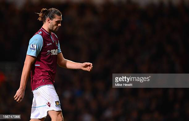 Andy Carroll of West Ham United is substituted during the Barclays Premier League match between West Ham United and Stoke City at the Boleyn Ground...