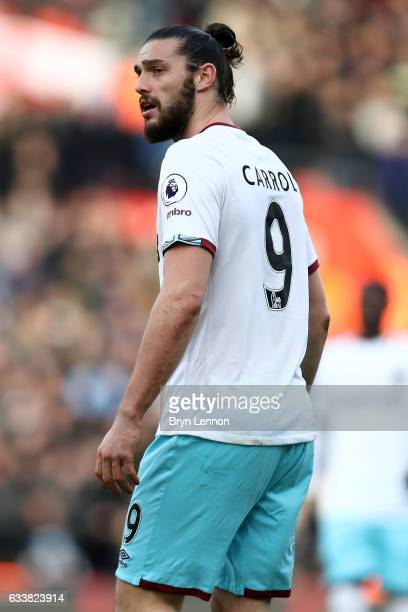 Andy Carroll of West Ham United looks on during the Premier League match between Southampton and West Ham United at St Mary's Stadium on February 4...