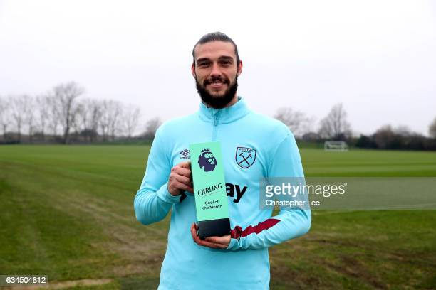 Andy Carroll of West Ham United receives the Premier League Goal of the Month Award at Rush Green on February 9 2017 in Romford England