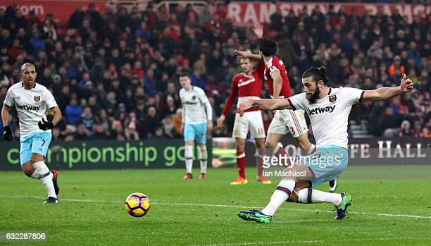 Andy Carroll of West Ham United scores his sides second goal during the Premier League match between Middlesbrough and West Ham United at the...