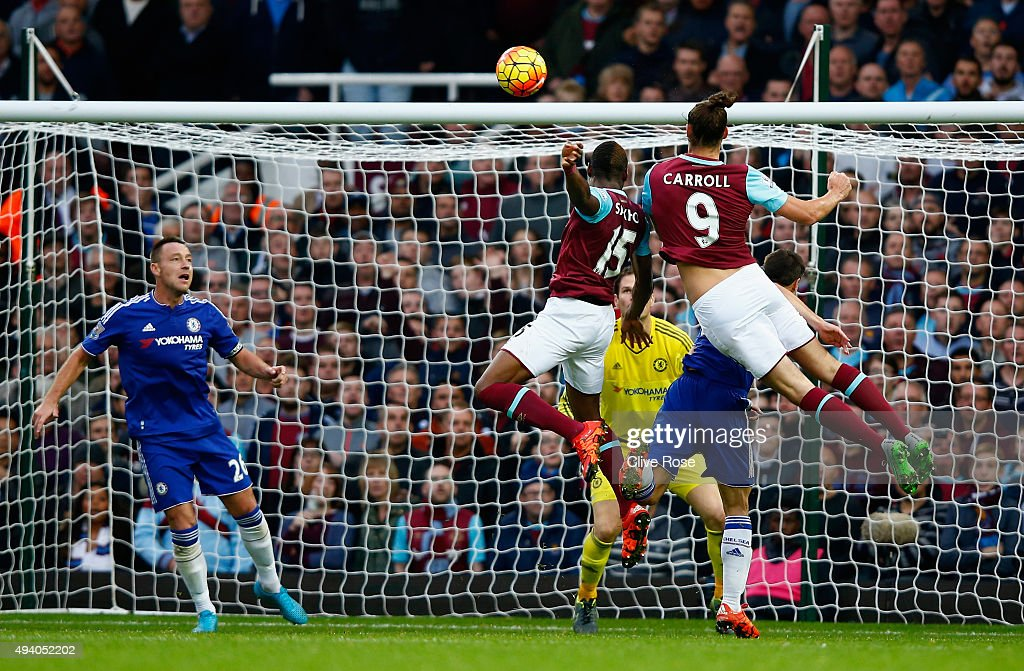 Andy Carroll #9 of West Ham United scores his team's second goal during the Barclays Premier League match between West Ham United and Chelsea at Boleyn Ground on October 24, 2015 in London, England.