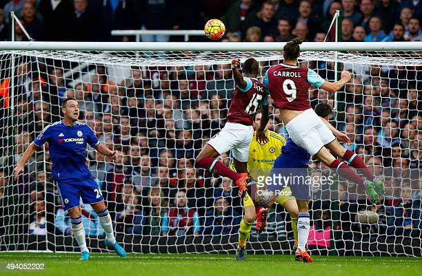 Andy Carroll of West Ham United scores his team's second goal during the Barclays Premier League match between West Ham United and Chelsea at Boleyn...