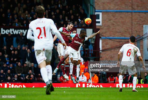 Andy Carroll of West Ham United scores his team's second goal during the Barclays Premier League match between West Ham United and Liverpool at...