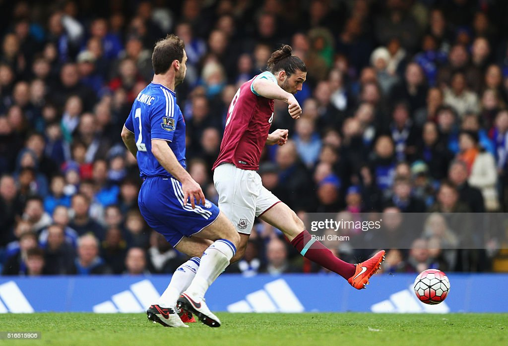 Andy Carroll of West Ham United scores his team's second goal during the Barclays Premier League match between Chelsea and West Ham United at Stamford Bridge on March 19, 2016 in London, United Kingdom.