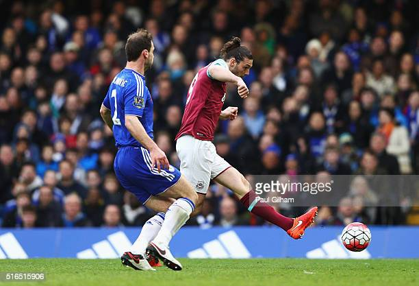 Andy Carroll of West Ham United scores his team's second goal during the Barclays Premier League match between Chelsea and West Ham United at...