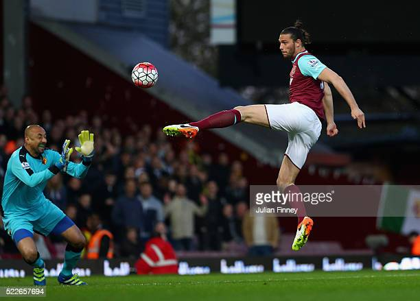 Andy Carroll of West Ham United scores the opening goal during the Barclays Premier League match between West Ham United and Watford at the Boleyn...