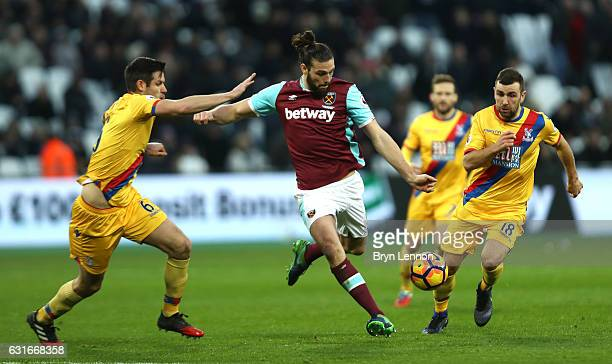 Andy Carroll of West Ham United shoots during the Premier League match between West Ham United and Crystal Palace at London Stadium on January 14...