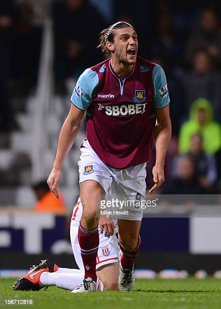 Andy Carroll of West Ham United shows his frustration during the Barclays Premier League match between West Ham United and Stoke City at the Boleyn...