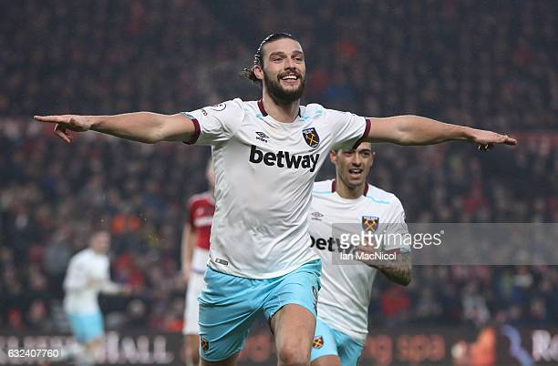 Andy Carroll of West Ham United turns to celebrate after scoring his second goal during the Premier League match between Middlesbrough and West Ham...