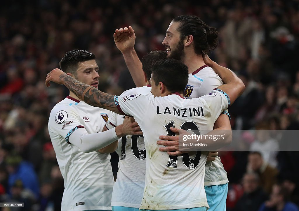 Andy Carroll of West Ham United turns to celebrate after scoring his second goal during the Premier League match between Middlesbrough and West Ham United at Riverside Stadium on January 21, 2017 in Middlesbrough, England.