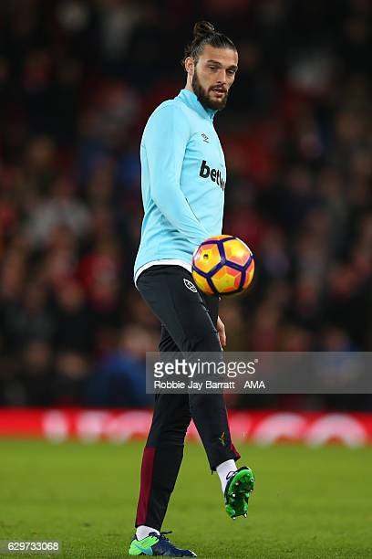 Andy Carroll of West Ham United warming up during the Premier League match between Liverpool and West Ham United at Anfield on December 11 2016 in...
