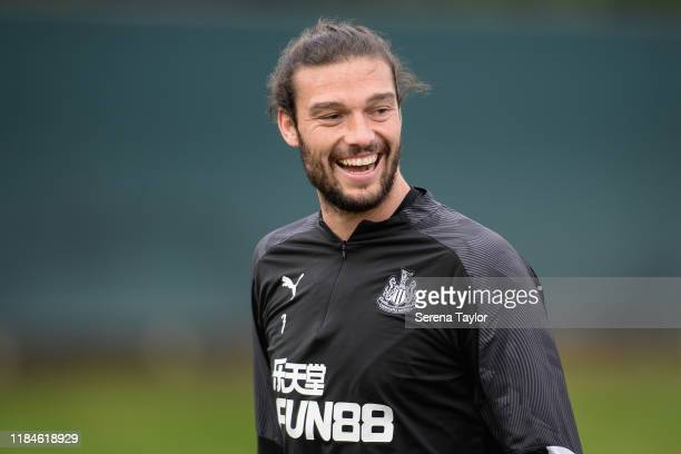 Andy Carroll smiles during the Newcastle United Training Session at the Newcastle United Training Centre on October 31, 2019 in Newcastle upon Tyne,...