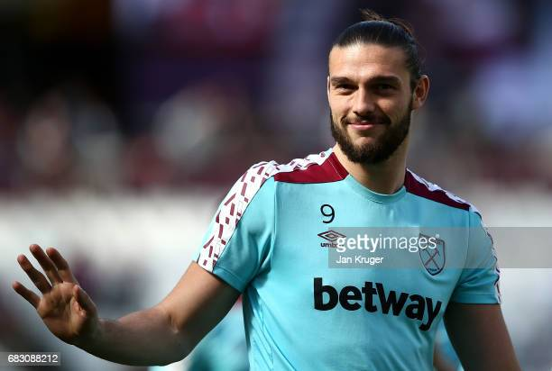 Andy Carroll thanks the fans during a lap of honor after the Premier League match between West Ham United and Liverpool at London Stadium on May 14...