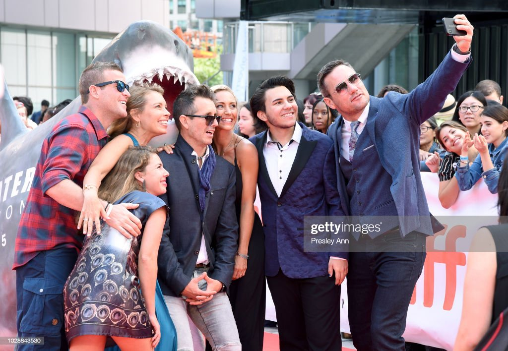 Andy Casagrande, Julie Andersen, Brock Cahill, Regi Domingo, Tyler McCloud, Jonah Bryson, and Meiki Heidemeyer attend the 'Sharkwater Extinction' premiere during 2018 Toronto International Film Festival at Roy Thomson Hall on September 7, 2018 in Toronto, Canada.